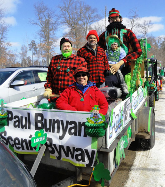 PBSBA Parade volunteers are shown here in their lumberjack plaid finery at the 2013 Crosslake St. Patrick's Day Parade. Winning First Place in Non-Profit entry category.