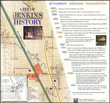 Jenkins History interpretive panel includes timeline, photos and 1913 village map.