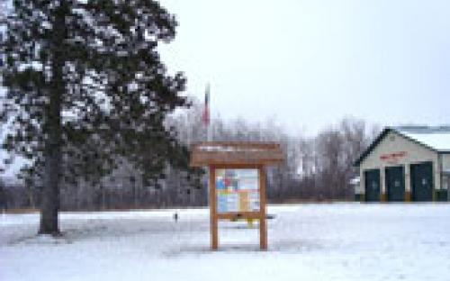 Timothy Township Interpretive panel in winter