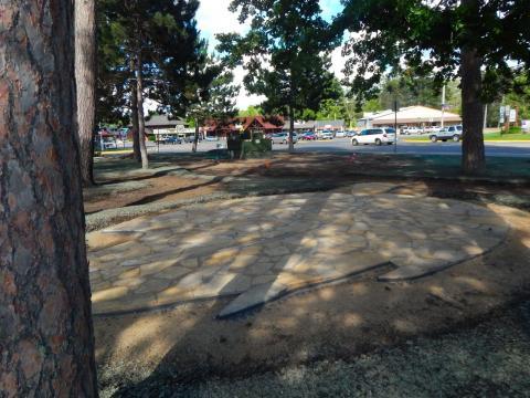 Soon Paul Bunyan's footprints can be seen near the leaf-shaped outdoor classroom - learning is fun at Linda Ulland Memorial Gardens!