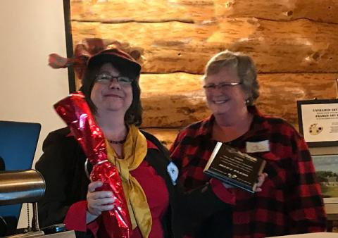 "Scenic Byway Chair, Cindy Nelson awarded Member/volunteer Mary Plein with a special ""No Tall Tale"" Award for her Bunyan-sized efforts supporting the Byway."