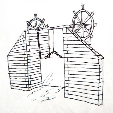 New interpretive amenity at Linda Ulland Memorail Gardens. Sketch of one Talking Box design-rendition of historic dam gate on the Pine River at Cross Lake.